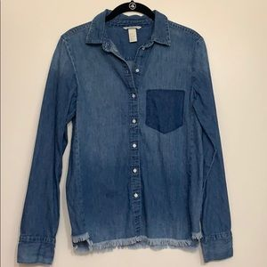 🙈JUST IN!🙊Frayed Denim H&M Button Up